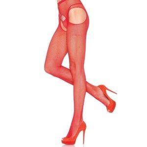 NWT Leg Avenue Red Fishnet Suspender Pantyhose